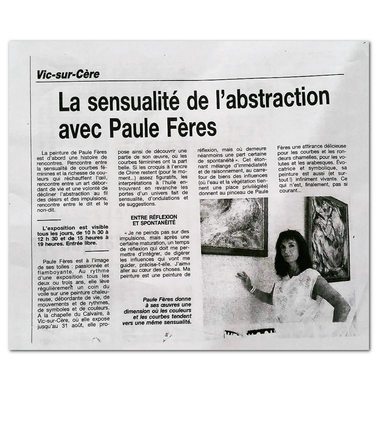 La sensualite de l'abstraction de Paule Feres